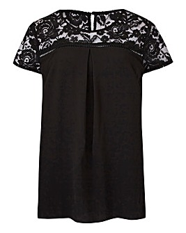 Black Lace Yoke Blouse