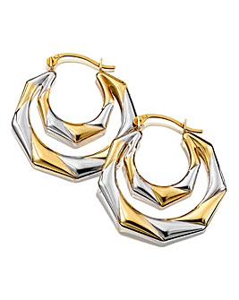 9Ct Gold Two-Tone Double Creole Earrings