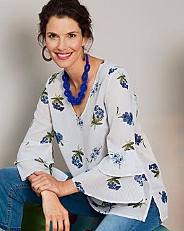 Stripe/Floral Ruffle Sleeve Blouse