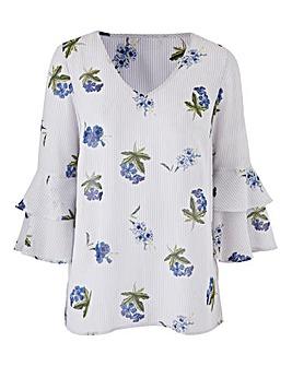 Petite Stripe/Floral RuffleSleeve Blouse