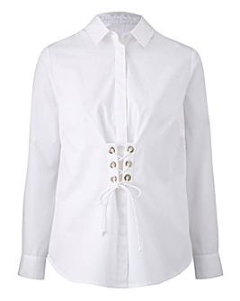 Petite Washed White Shirt Corset Detail