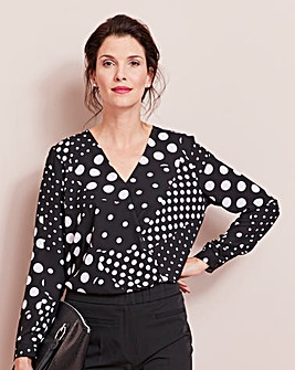 Black Spot Print Wrap Blouse