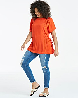 Coral Tie Side Crinkle Top