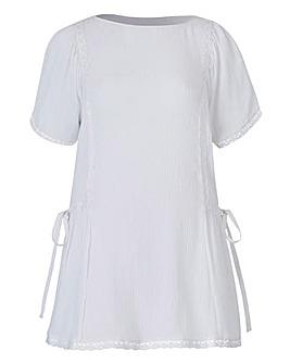 White Tie Side Crinkle Top