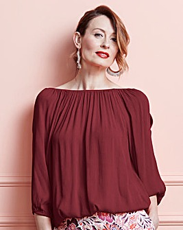 Berry Split Sleeve Crinkle Bardot Blouse