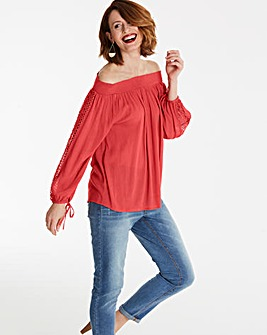 Burnt Red Embroidered Bardot Crinkle Top
