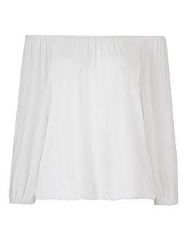 Ivory Split Sleeve Crinkle Bardot Blouse