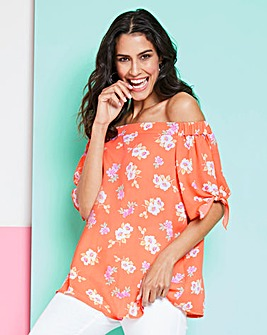Orange Floral Tie Sleeve Bardot