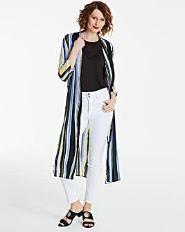 Multi Stripe Printed Longline Kimono
