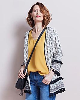Mono Print Embellished Trim Kimono