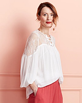 Ivory Lace Yoke Balloon Sleeve Blouse