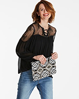 Black Lace Yoke Balloon Sleeve Blouse