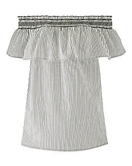 Petite Black/White Shirred Bardot Top