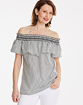 Black/White Stripe Shirred Bardot Top