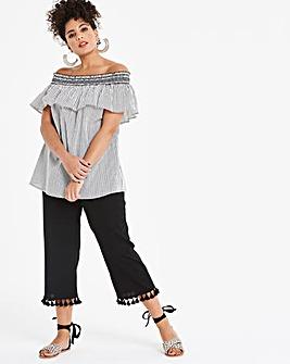 Linen Rich Wide Crop Tassle TrimTrousers
