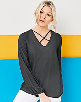 Dark Grey Cross Front Long Sleeve Top