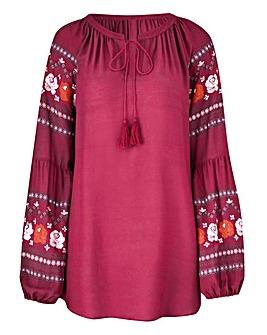 Berry Print Sleeve Peasant Top