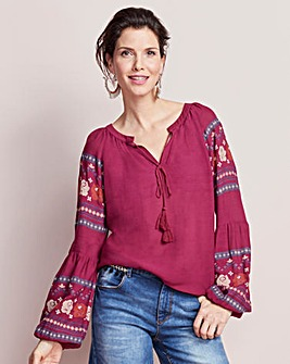 Berry Red Print Sleeve Peasant Top