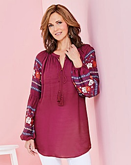 Berry Print Sleeve Peasant Top