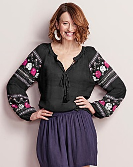 Black Print Sleeve Peasant Top