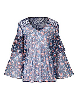 Petite Navy Paisley Layered Sleeve Top