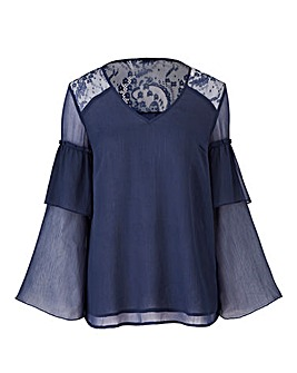 Petite Navy Layered Sleeve Top