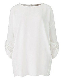 Ivory Ruched Sleeve Top