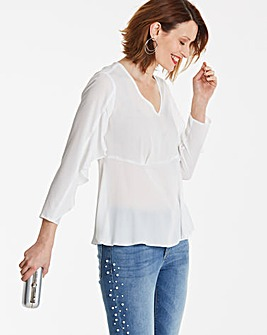 Ivory Long Sleeve Cape Top