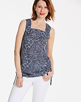 Navy Abstract Square Neck Vest
