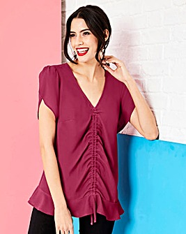 Magenta Ruched Front Blouse