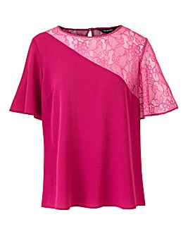 Magenta Asymmetric Lace Sleeve Top