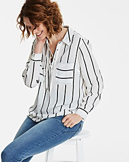 Ivory Stripe Lace Up Front Shirt