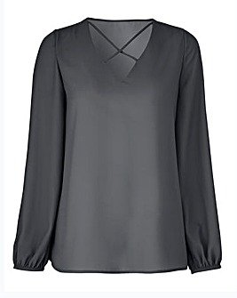 Petite Dark Grey Cross Front Top