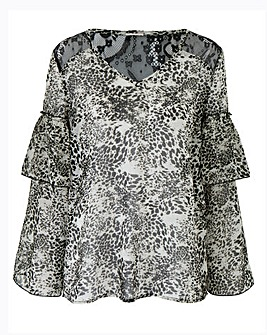 Petite Animal Print Layered Sleeve Top