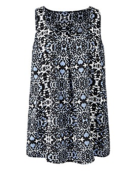 Mono Print Sleeveless Vest Top