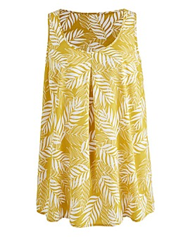 Yellow Print Sleeveless Vest Top