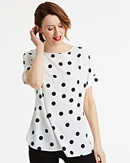 Black Spot Drop Sleeve Top