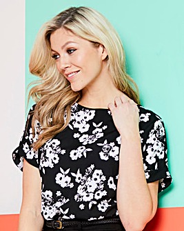 Black Floral Drop Sleeve Top