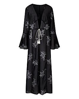 Black/White Printed Maxi Kimono