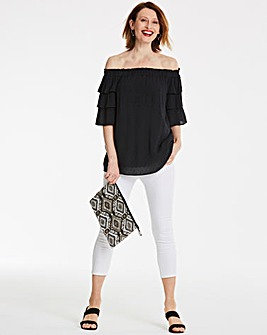 Black Dobby Tiered Sleeve Bardot
