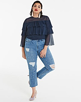 Navy Tiered Ruffle Blouse