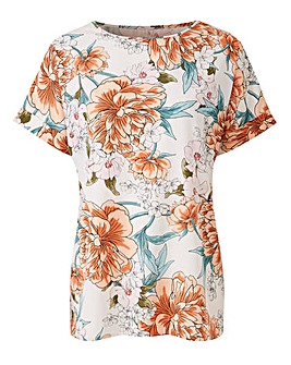 Nude Floral Drop Sleeve Top
