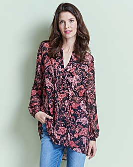 Black Paisley Printed Ladder Trim Tunic