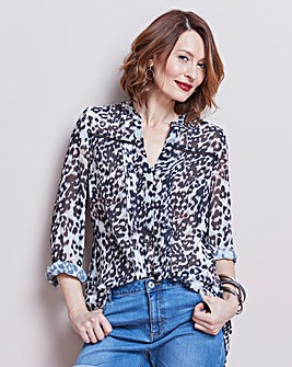 Animal Print Ladder Trim Tunic