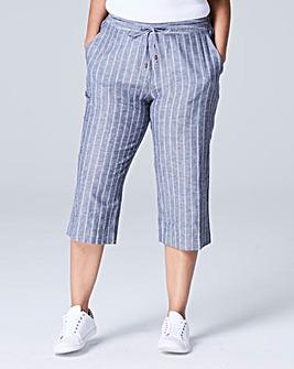 Stripe Linen Mix Crop Trouser Reg