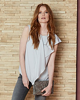 Sleeveless Drape Front Top