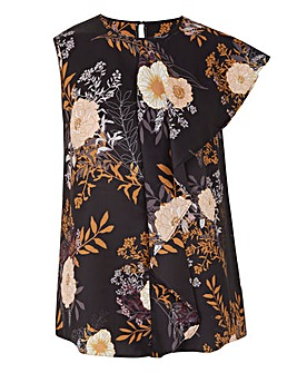 Black Floral Sleeveless Drape Front Top