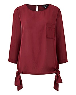 3/4 Sleeve Top With Tie Sides And Pocket