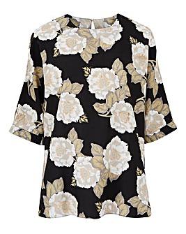 Black Floral Drop Sleeve Top