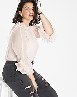 Blush 3/4 Sleeve Ruffle Top